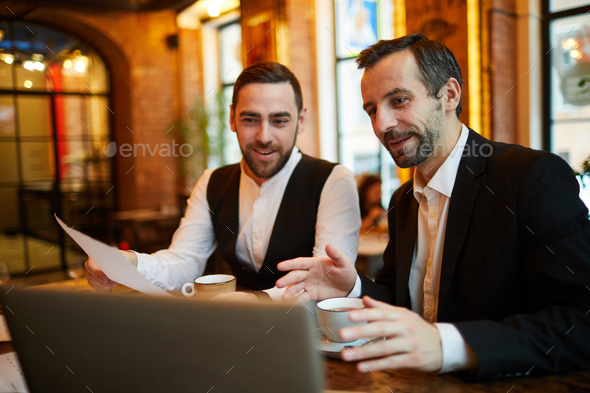 Business people Working in Restaurant - Stock Photo - Images