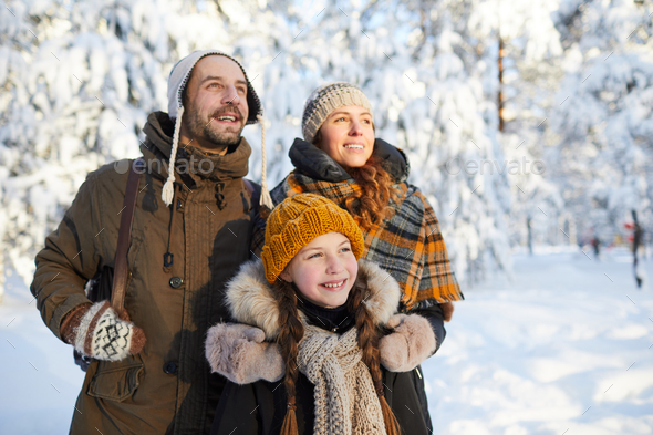 Dreamy Family in Winter - Stock Photo - Images