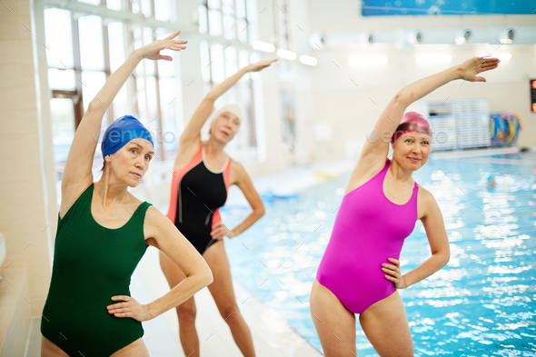 Senior Women Training in Swimming Pool - Stock Photo - Images