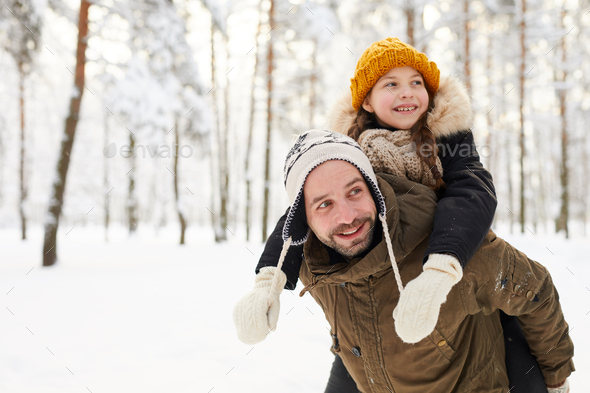 Father and Daughter in Winter - Stock Photo - Images