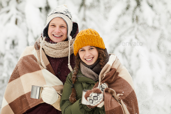Young Couple Posing in Winter - Stock Photo - Images