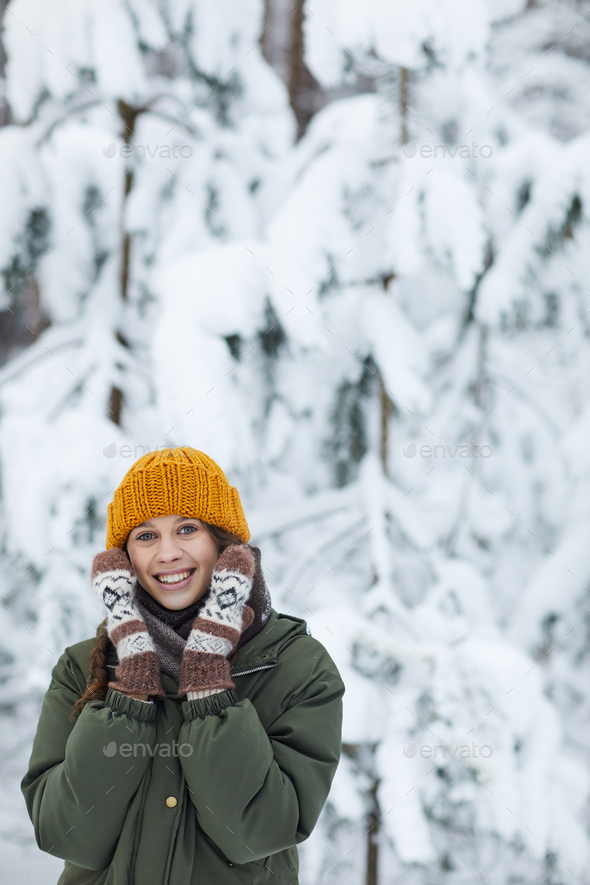 Cute Young Woman in Winter - Stock Photo - Images