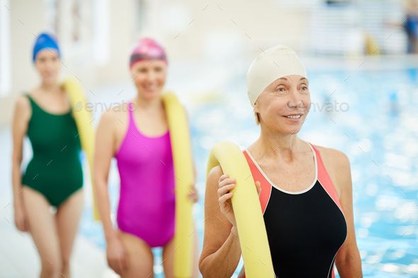 Group of Senior Women by Pool - Stock Photo - Images