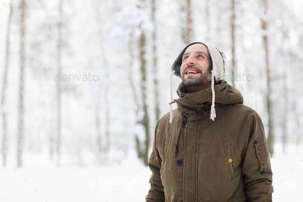 Smiling Adult Man Enjoying Winter - Stock Photo - Images