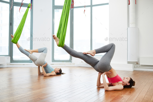Aerial Yoga Practice - Stock Photo - Images
