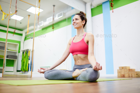 Yoga Practice in Gym - Stock Photo - Images