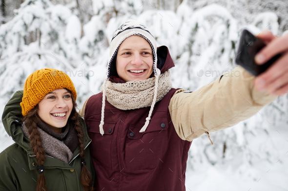 Selfie in Winter Park - Stock Photo - Images