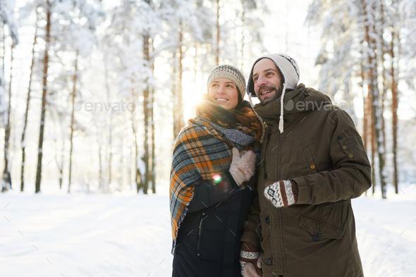 Happy Couple Enjoying  Winter - Stock Photo - Images