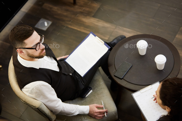 Businessman with document - Stock Photo - Images