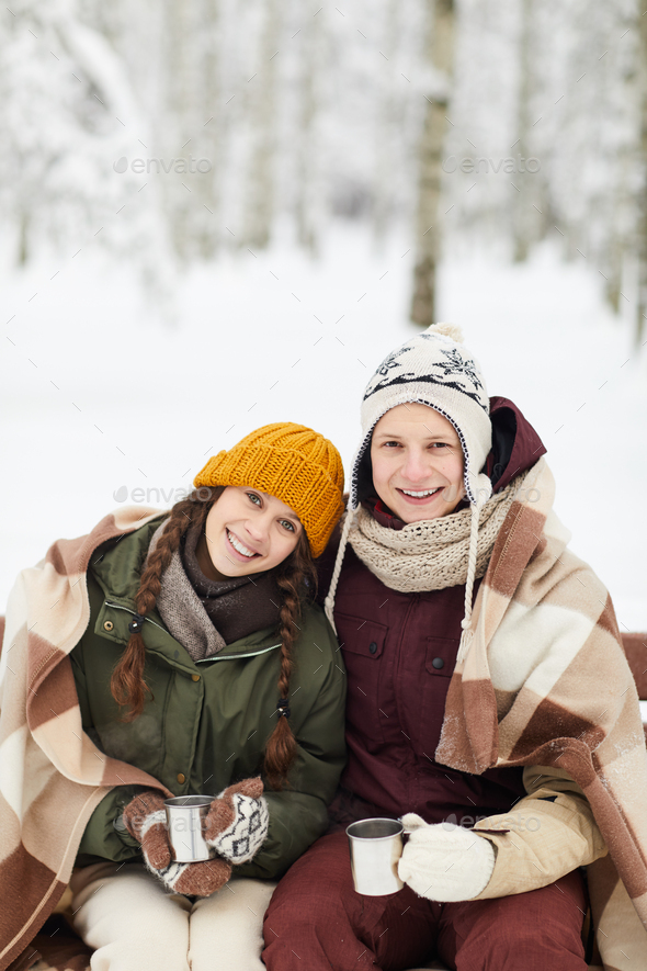 Youg Couple in Winter Park - Stock Photo - Images