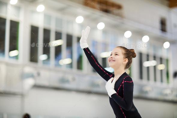 Little Figure Skater Waving - Stock Photo - Images