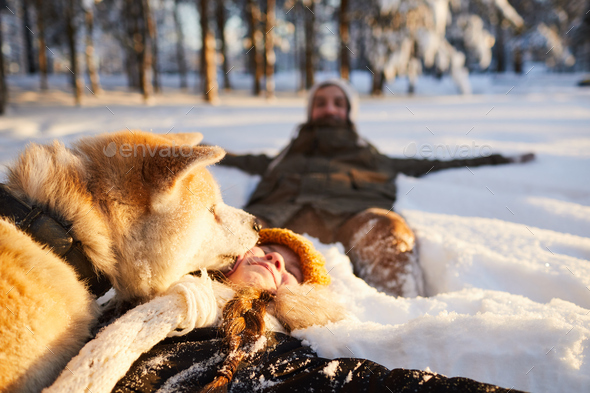 Girl Playing with Dog in Snow - Stock Photo - Images