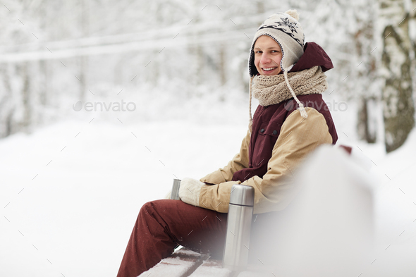 Man in Winter park - Stock Photo - Images