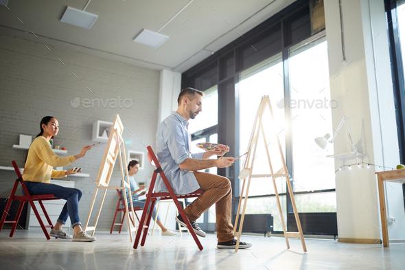 Painting in artwork studio - Stock Photo - Images