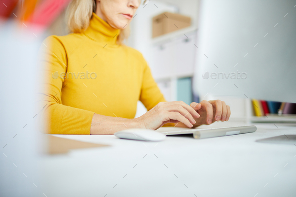 Closeup of Businesswoman Typing - Stock Photo - Images