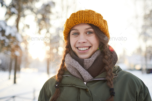 Happy Girl in Winter Park - Stock Photo - Images