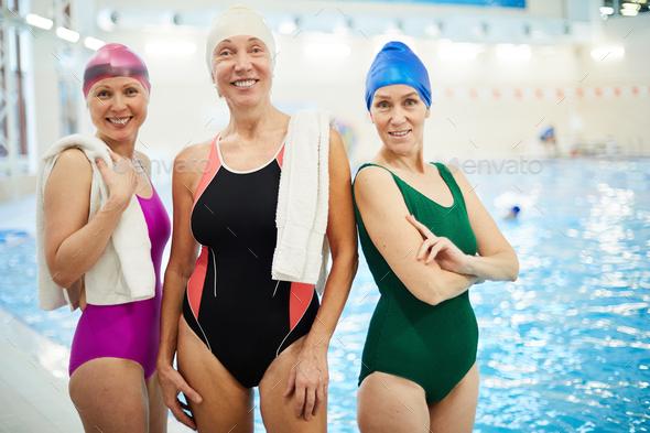 Three Senior Women in Swimming Pool - Stock Photo - Images