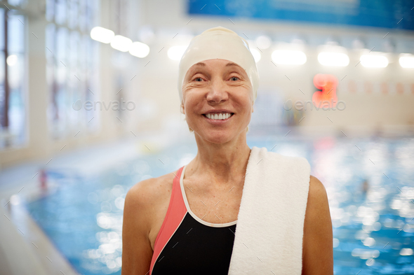 Senior Woman in Swimming Pool - Stock Photo - Images