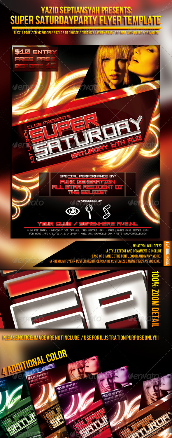 Super Saturday Party Flyer Template - Clubs & Parties Events