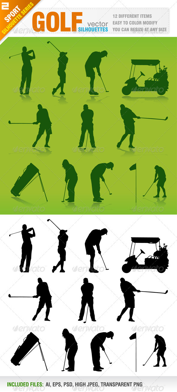 Golf Silhouettes - Sports/Activity Conceptual
