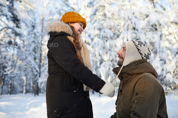Happy Father in Winter Park - Stock Photo - Images