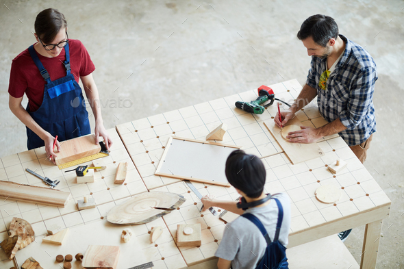 Making wooden detail for interior design - Stock Photo - Images