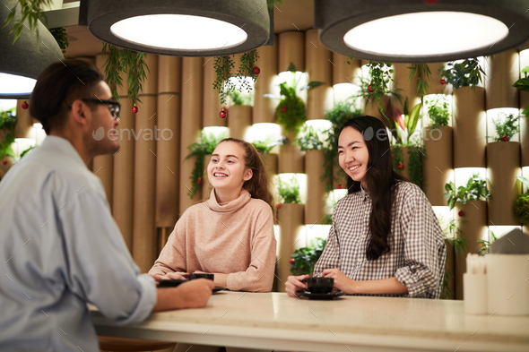 Students in college cafe - Stock Photo - Images