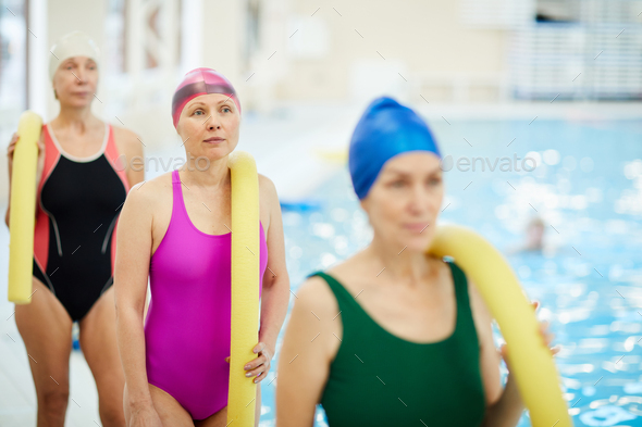 Senior Women by Pool - Stock Photo - Images