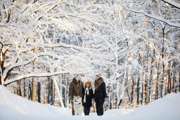 Family Enjoying Walk in Park - Stock Photo - Images