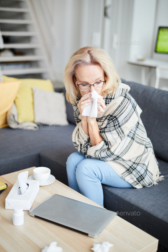 Sick Adult Woman at Home - Stock Photo - Images