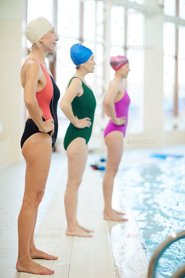 Row of Senior Swimmers in Pool - Stock Photo - Images