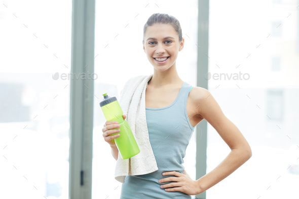 Pretty Woman Posing in Gym - Stock Photo - Images