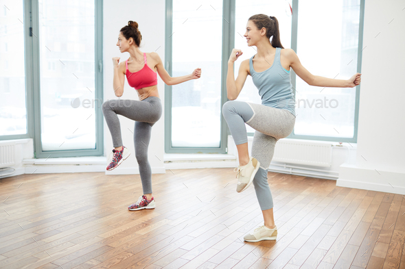 Two Women Doing Aerobics - Stock Photo - Images