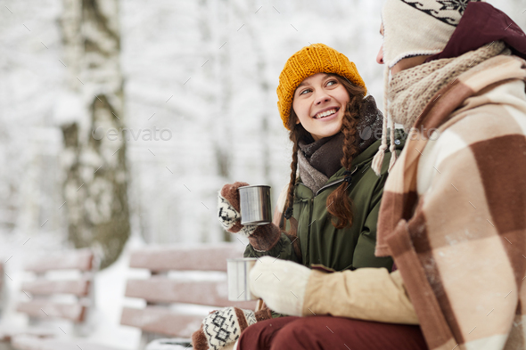Loving Couple in Winter Park - Stock Photo - Images