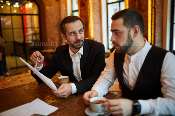 Business People Meeting in Restaurant - Stock Photo - Images