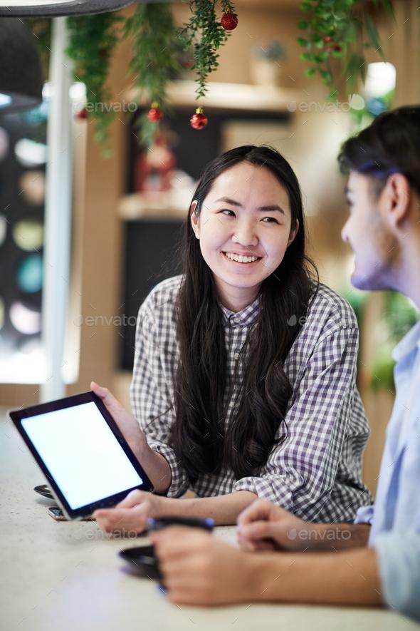 Talk of groupmates - Stock Photo - Images