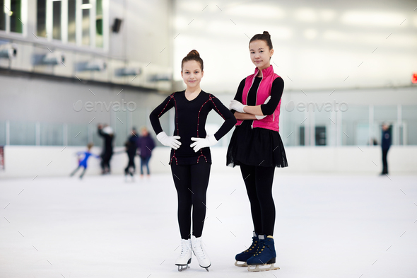 Two Girls Figure Skating - Stock Photo - Images