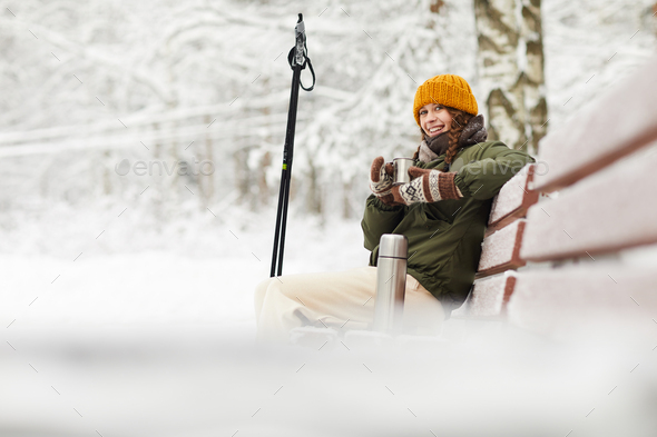 Woman in Winter Park - Stock Photo - Images