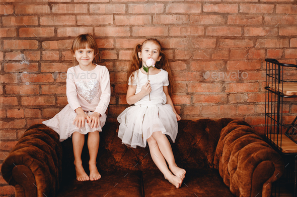 Two charming sisters dressed in beautiful dresses are sitting on the brown armchair on the - Stock Photo - Images