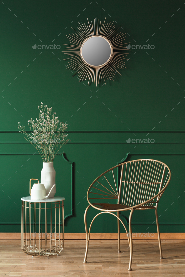 Fashionable armchair in trendy living room interior in contemporary apartment - Stock Photo - Images