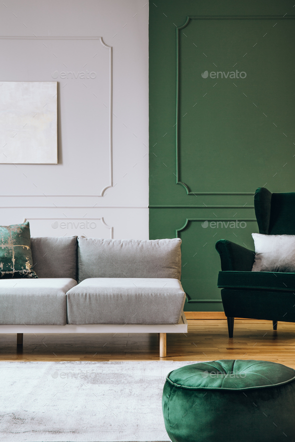 Stylish living room interior with trendy sofa with pillows, real photo - Stock Photo - Images