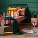 Fox theme in cute bedroom interior with green wall and orange bedding - PhotoDune Item for Sale