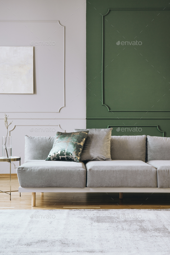 Abstract painting on empty wall of classy living room interior - Stock Photo - Images