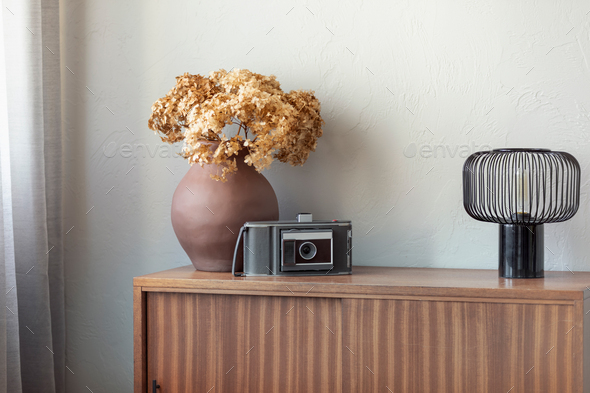vase next to old vintage camera and industrial lamp on retro wooden cabinet - Stock Photo - Images