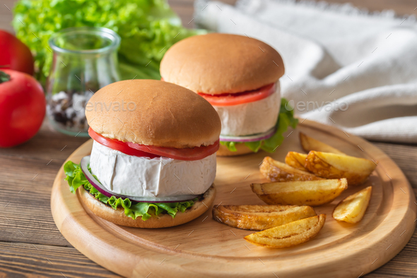 Camembert Hamburgers - Stock Photo - Images