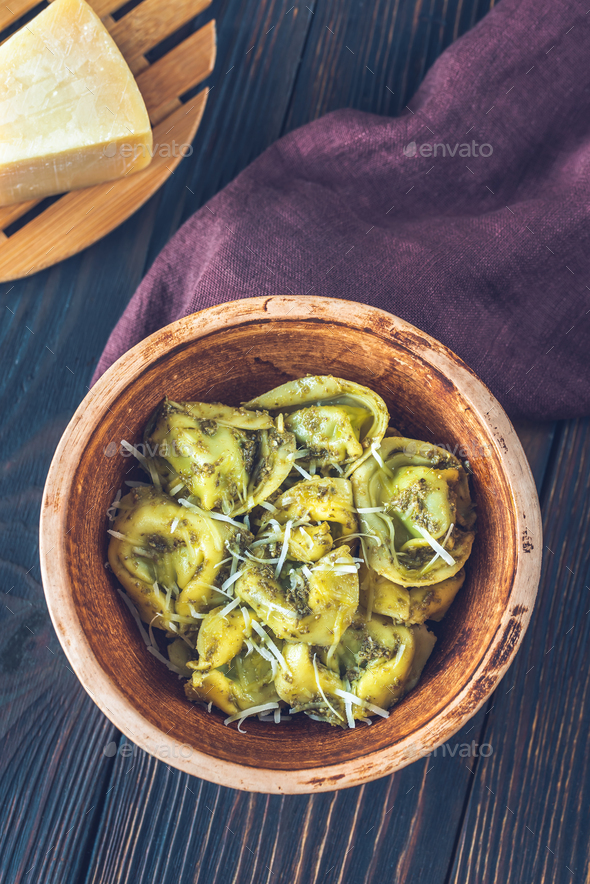 Bowl of tortelloni stuffed with ricotta - Stock Photo - Images
