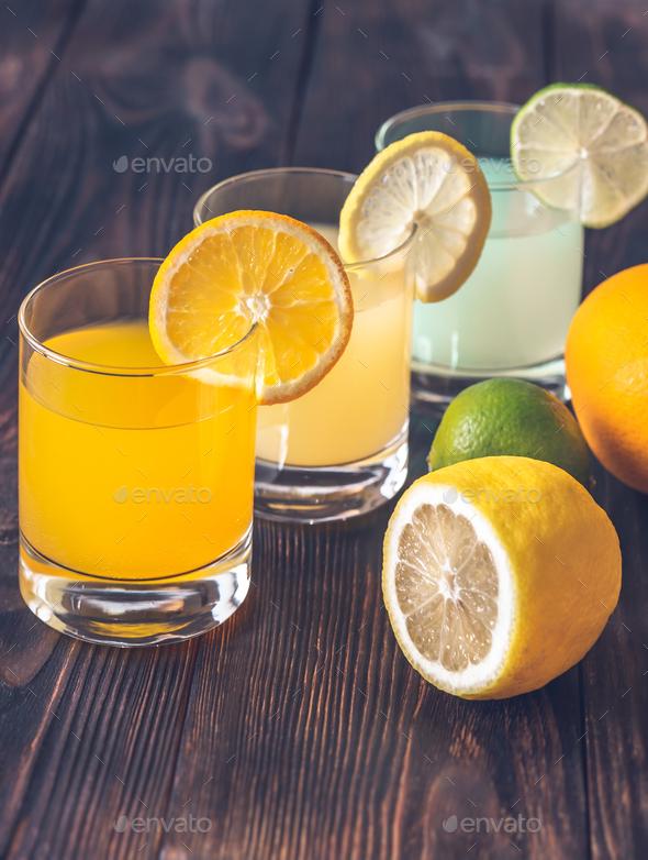 Assortment of citrus juices - Stock Photo - Images