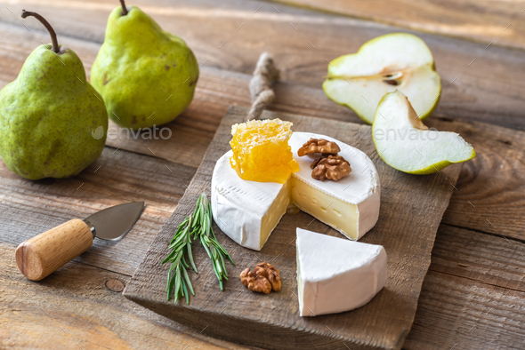 Camembert cheese with pears - Stock Photo - Images