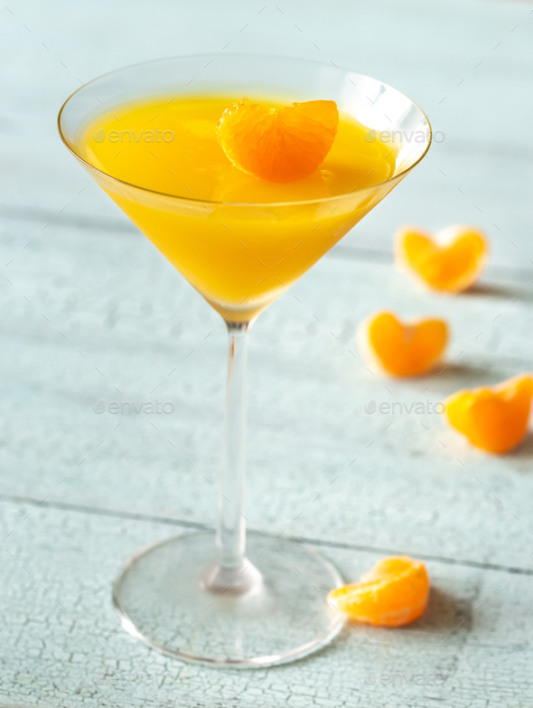 Cocktail glass with orange jelly dessert - Stock Photo - Images
