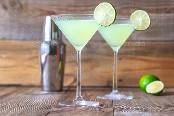 Glasses of classic daiquiri cocktails - Stock Photo - Images